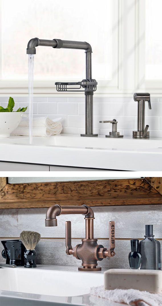 INDUSTRIAL BEAUTIES These two new industrial style faucets by Watermark may just become the focal point of any kitchen or bathroom. Originally designed for use in bathrooms, the Elan Vital collection now includes a customizable pot filler, a sponge/soap holder and an independent side spray as well as a single hole lavatory version for bathrooms. Visit watermark-designs.com.