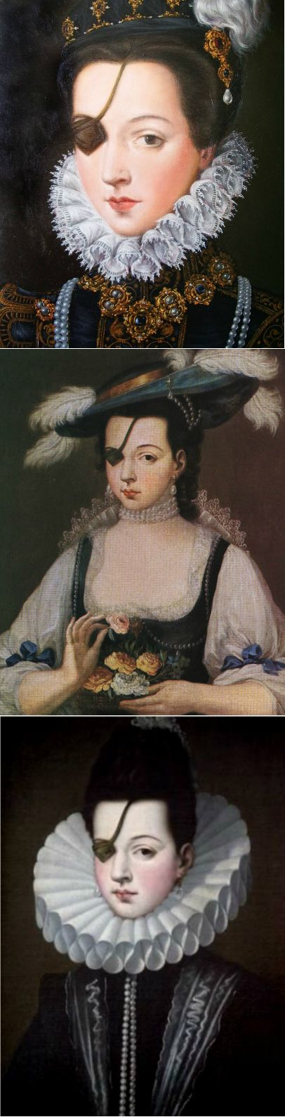Ana de Mendoza (Doña Ana de Mendoza y de la Cerda, Princess of Eboli, Duchess of Pastrana). Spanish aristocrat, 1540-1592. Considered one of the more accomplished women of her time by her peers. Also regarded as one of the most beautiful ladies in Spain, despite having lost an eye in a mock duel with a page when she was young. Married at 12 years old to Rui Gomes da Silva, 1st Prince of Éboli and minister to the King.