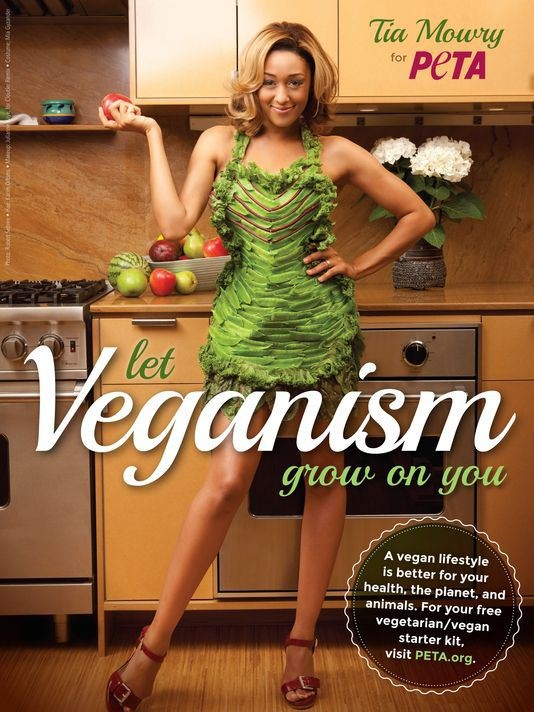 """The Game"" Star Tia Mowry Dons Lettuce Dress for PETA"