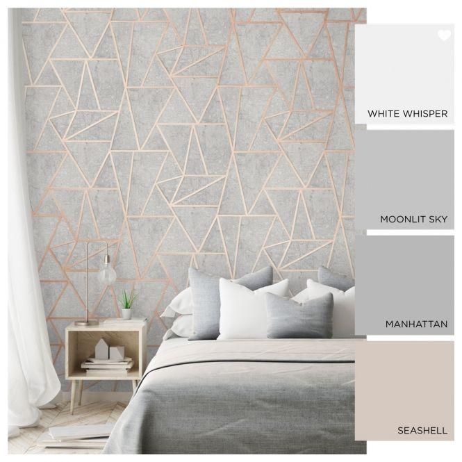 Metro Geometric Apex Wallpaper Grey Rose Gold Grey And Gold Bedroom Grey Wallpaper Bedroom Rose Gold Bedroom