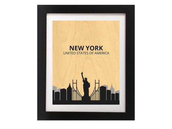 New York City Silhouette Modern Art Print  by TheWoodPaperShoppe
