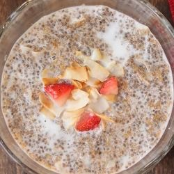 ½ cup + 2 Tbsp chia seeds ½ cup + 2 Tbsp golden flax meal 1 Tbsp + ¾ tsp ground cinnamon ½ cup hot water2 Tbsp unsweetened coconut milk Sweetener to taste Instructions Combine the chia seed, golden flax meal, and cinnamon in an airtight container.Scoop out ½ cup Pour ½ cup of water sit for 3-5 minutes.