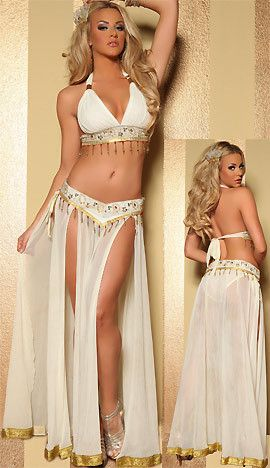 Four Piece Golden Wish Genie Costume includes Halter Bra Top and Genie Split Skirt with Bead and Sequin Embellished Border and Genie Lamp Inspired Detailing. Includes Matching Bead and Sequin Embellished Border Side Tie Panty and Hair Comb.  Size: XS-S-M-L-XL Color: Cream/Gold