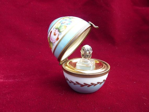 Vintage Limoges Porcelain Egg With Perfume Bottle Mini