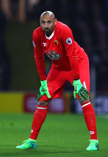 Heurelho Gomes of Watfod looks on during the Premier League match between Watford and West Bromwich Albion at Vicarage Road on April 4, 2017 in Watford, England.