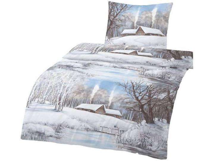 Dobnig Biberbettwasche Winterlandschaft Blau In 2020 Bettwasche