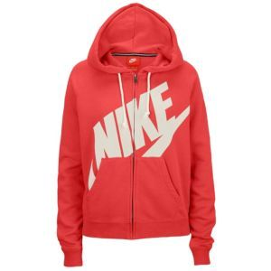 Nike Rally Signal Full Zip Hoodie - Women's - Fusion Red Heather/Sail