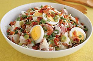 Potato Caesar Salad recipe/ potato salad with creamy ceasar dressing, hard cooked eggs and green onion but I would leave out the bacon