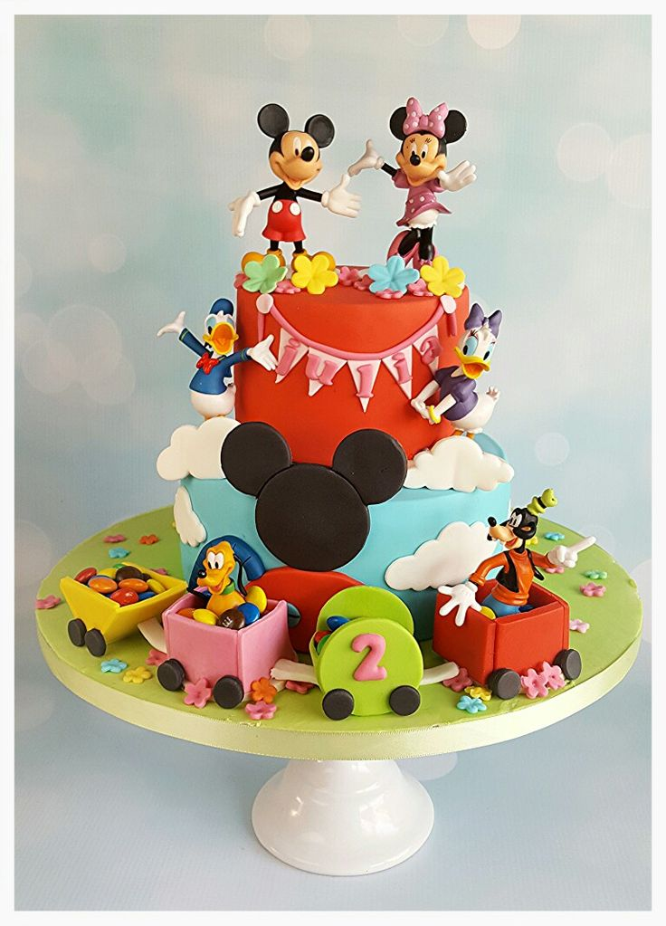 Mickey mouse clubhouse cake, goofy, pluto, minnie, mickey, donald, daisy duck, train. Mickey mouse clubhuis taart