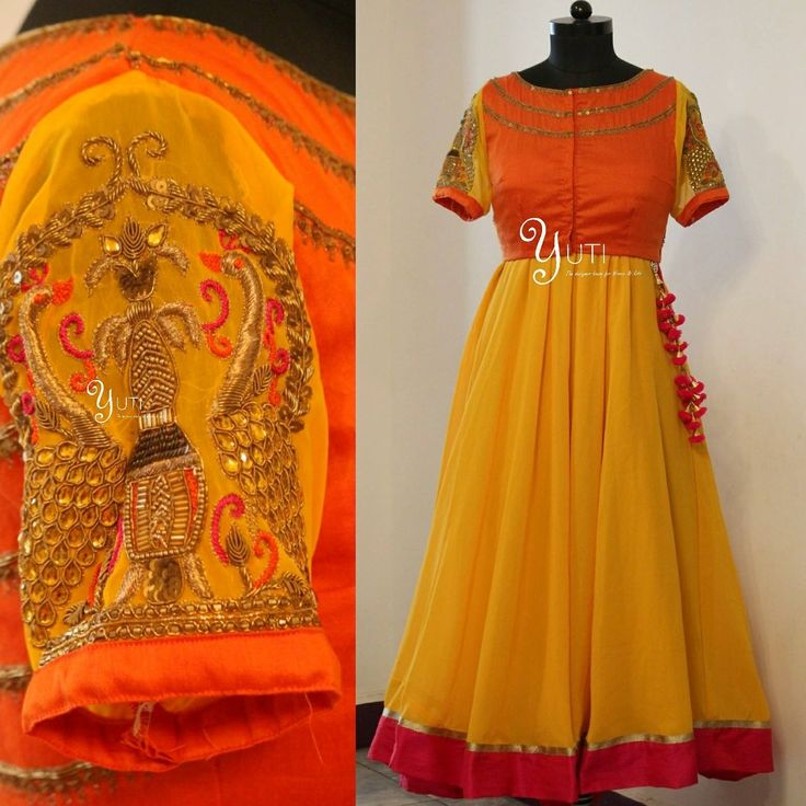 Orange as beautiful as Sunrise can be a Pink as bright as pink can be with a yellow so rich as gold - a combination thats too colourful for Words by YUTI!A Happy coloured anarkali with zardosi embroidery at YUTI.For Price and Other details reach at 044-42179088 or Whatsapp: 9789903599Address: 21 Valmiki street Thiruvanmyur Chennai. yuti for brides YUTI Designer House 15 April 2017