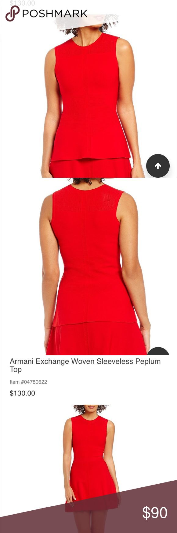 Armani exchange peplum top Great holiday shirt! Bright red and stretches, beautiful material! I have both pieces, separate listing for the skirt Armani Exchange Tops