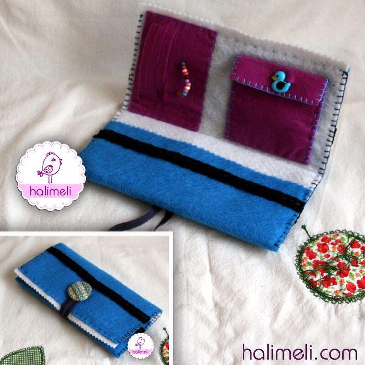 Mavi düğmeli ördekli keçe cüzdan
