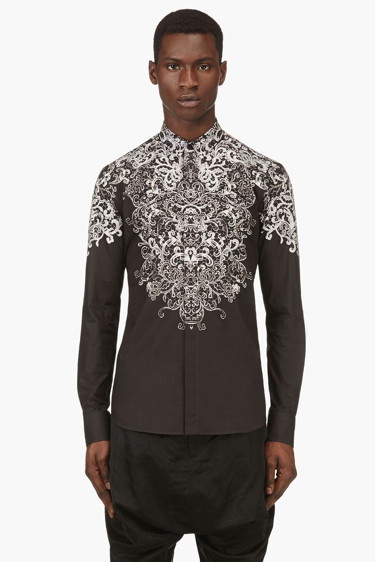 ALEXANDER MCQUEEN Black  ivory lace-print shirt