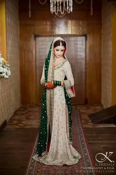 Pakistani dress.. Love the green accents with white. very subtle yet striking