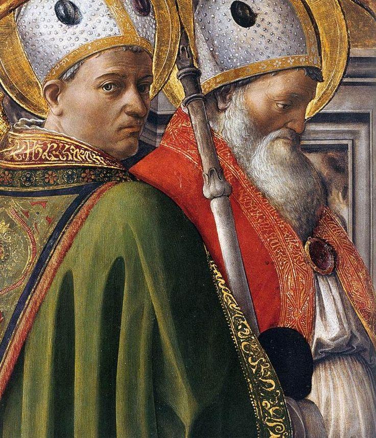FILIPPO LIPPI (Fra) - Sant'Agostino e Sant'Ambrogio, Dottori della Chiesa, dal Trittico dei Quattro Dottori - 1435-1437 - Accademia Albertina, Torino