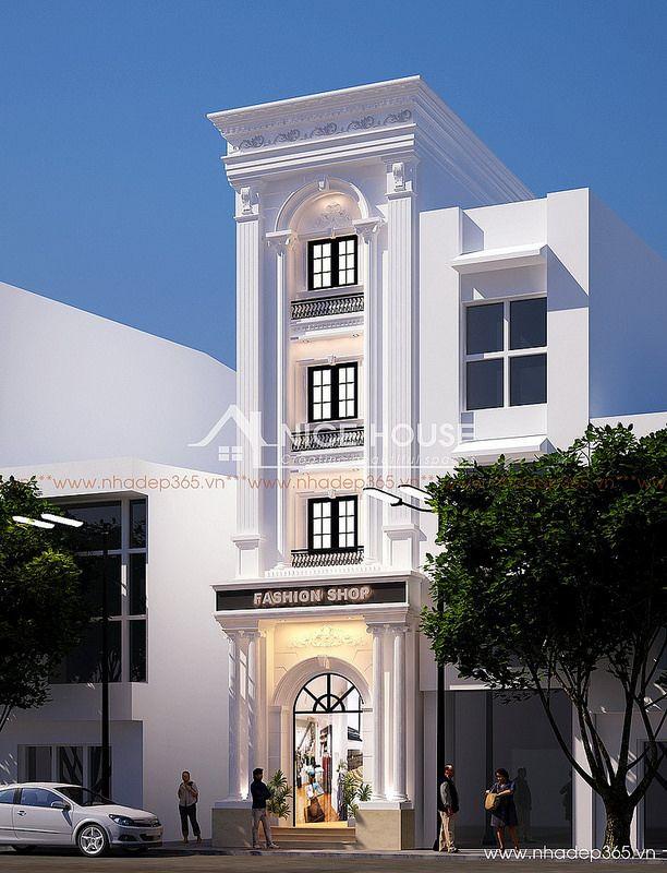 Thiết kế nhà phố 4 tầng tân cổ điển đẹp