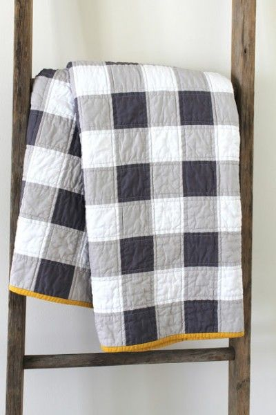Gingham Quilt, simple with 3 colors and contrasting thread.
