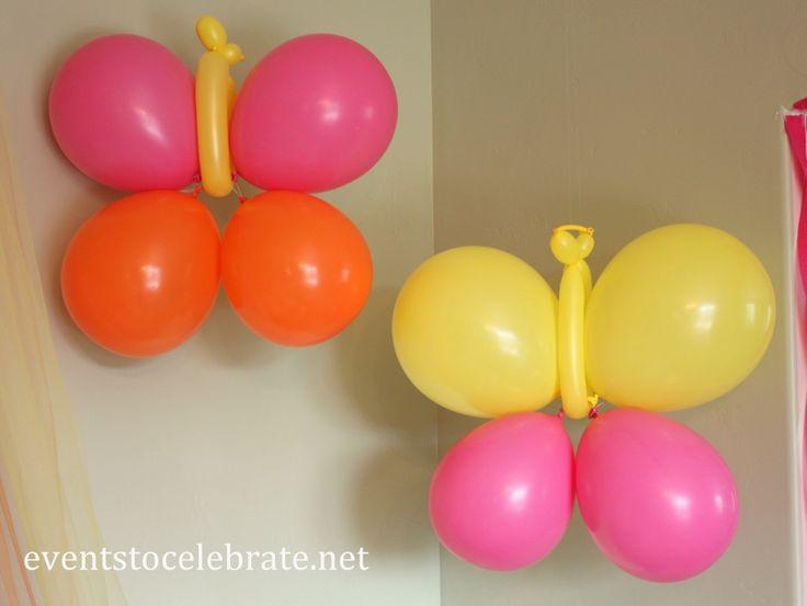 Butterfly Themed Party - DIY Butterfly Balloons - eventstocelebrate.net