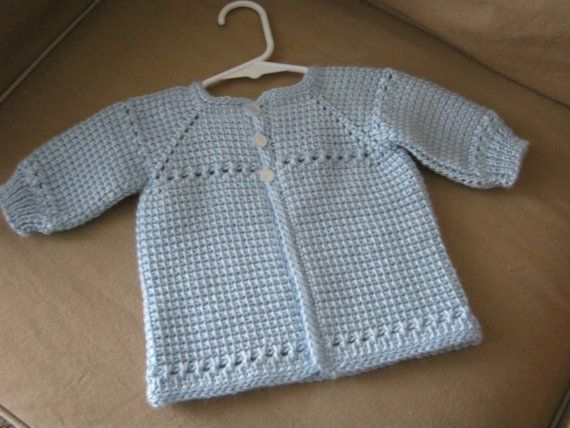 Crochet Baby Boy Sweater - Blue - 0-3 Months - MADE TO ORDER - Tunisian Crochet - Handmade