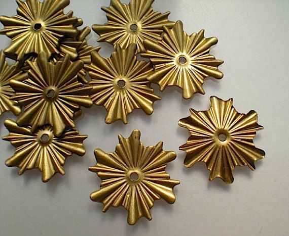 12 brass mirror rosettes No. 7  small by TimeAndMaterials on Etsy, $5.00