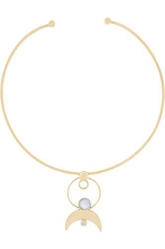 Cosmos gold-plated moonstone choker #jewelry #women #covetme #lunar #celestial #beautiful #springtime #gold #choker #moonstone #pamelalove