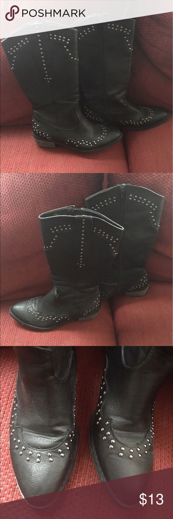 "Black Studded Zippered Ladies Cowboy Boots Never Worn! Zippers work! No silver missing studs. Purchased at 6pm.com. Shaft: 10"".  Non Smoking home. Quick ship! Shoes Heeled Boots"