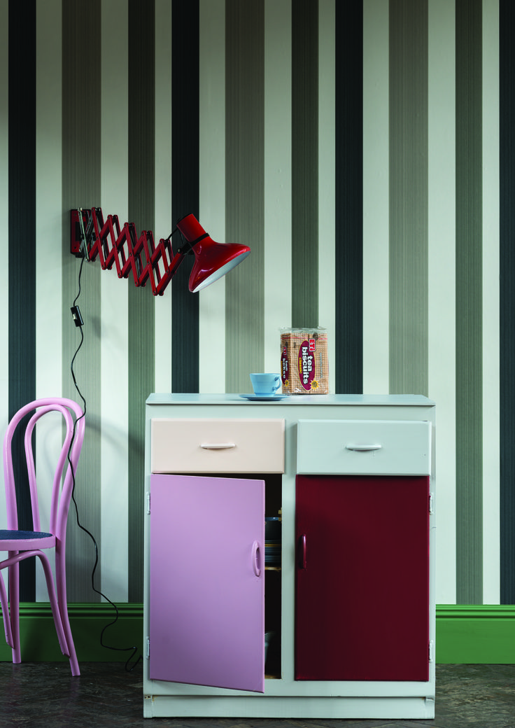 Patchwork Kitchen Cabinet with frame and one drawer in Dimpse and doors clockwise from bottom right; Rectory Red, Cinder Rose and Calamine all by Farrow & Ball