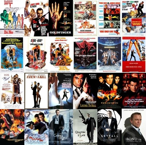 a collage of all james bond movie posters including bond