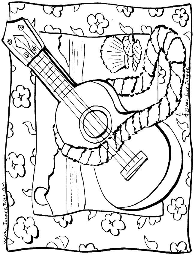 Coloring Pages Of Ukulele #3 | Beach coloring pages ...