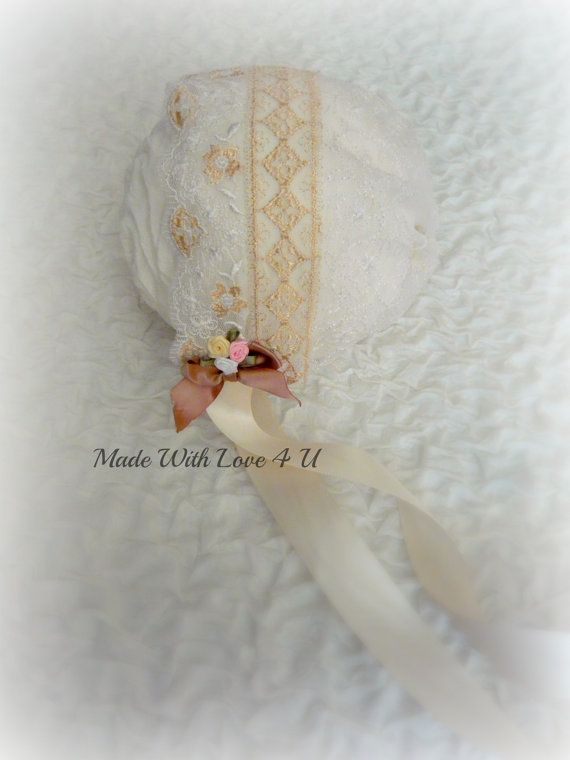 Newborn lace bonnet ivory and gold by MadeWithLove4U01 on Etsy