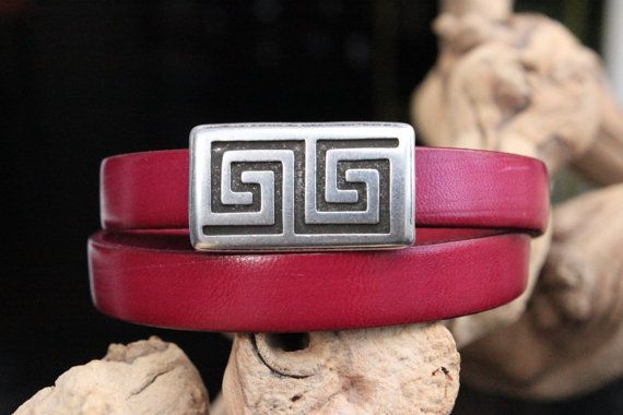 Leather Bracelet Double Wrap Engraved Maze by PepperPotLeatherShop, $39.99