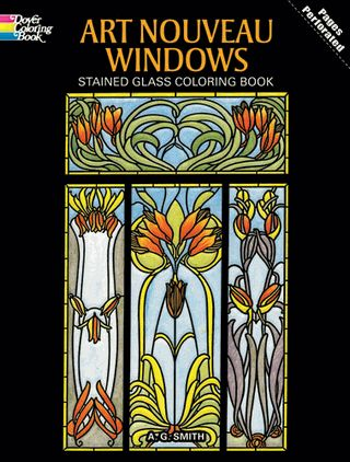 Art Nouveau Windows Stained Glass Coloring Book From Dover PUblications They Have Unicorns Too