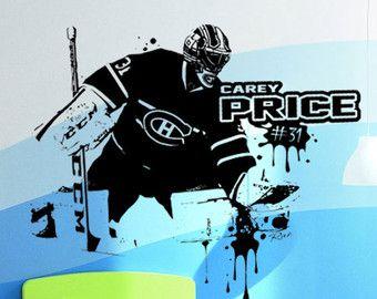 Hockey Goalie Decal Wall art Custom Large Player by RINOhomedecor