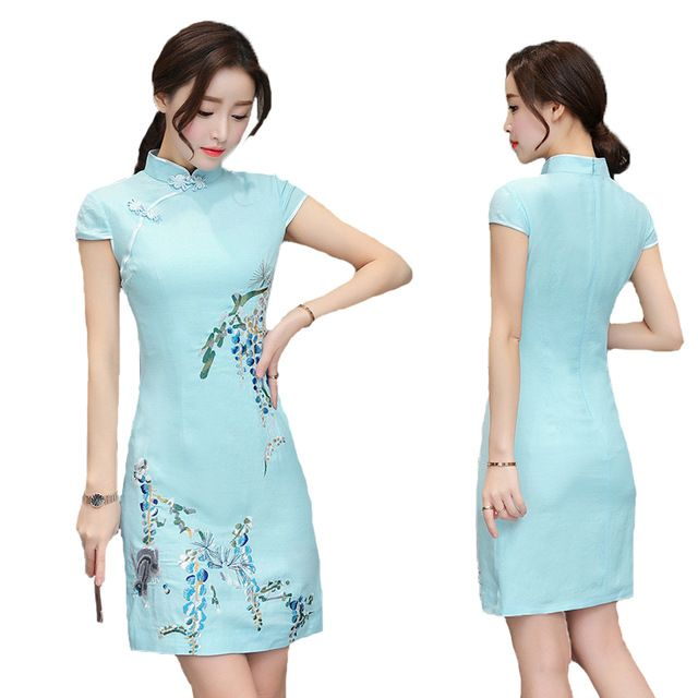 Chinese Style New Stand Collar Short Sleeved Slim Vintage Flowers Embroidery Cheongsam Dress Women Summer Casual Blue Dress