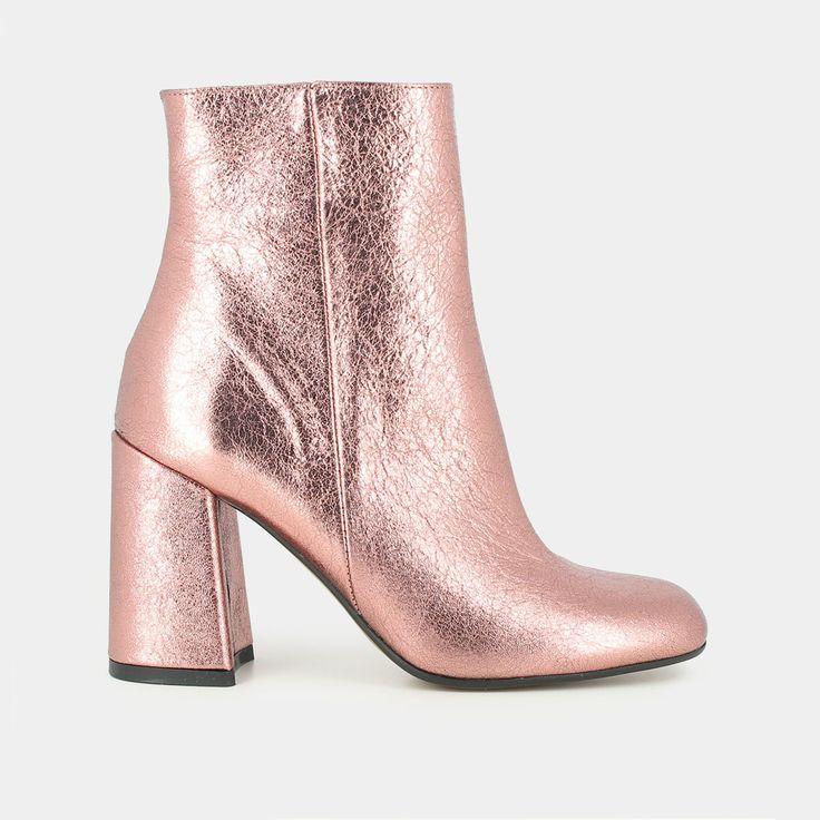 Bottines hautes en cuir métalissé rose - Jonak rose