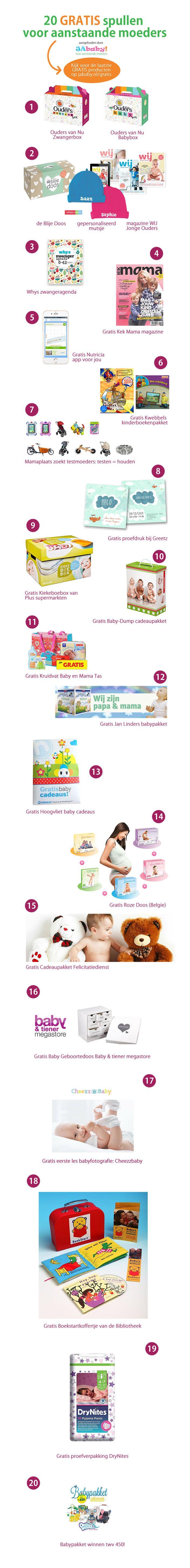 De leukste en mooiste GRATIS babyproducten, cadeauboxen, pakketten en spullen voor zwangeren. Tip: nummer 18 is ECHT leuk!