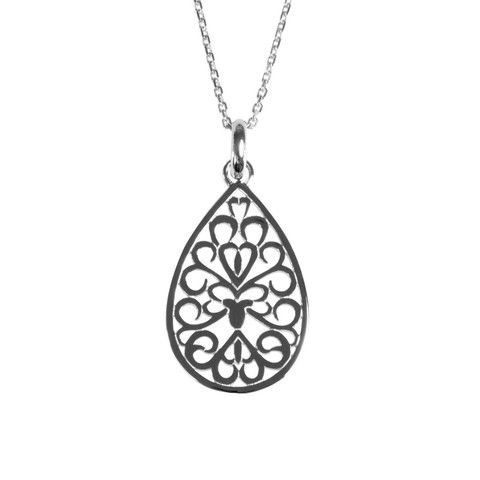 ANTIKA Sofia pendant. Teardrop shaped with a floral perforated pattern. Feminine and delicate looking, match with Sofia earring #silverjewellery.