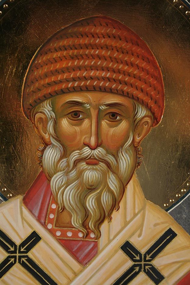 Wonder Worker and Bishop of Tremithus Saint Spyridon. His relics are kept in the Church of St. Spyridon on the island of Corfu, Greece.