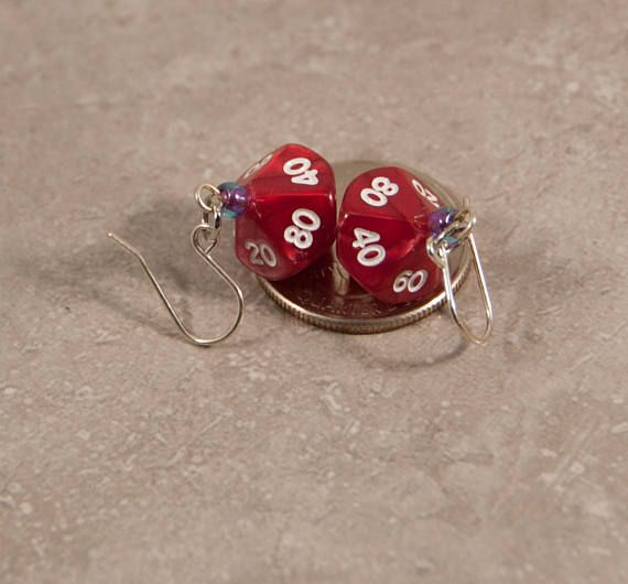 Mini Red D10 Dice Earrings  Tabletop Gaming Jewelry with Seed