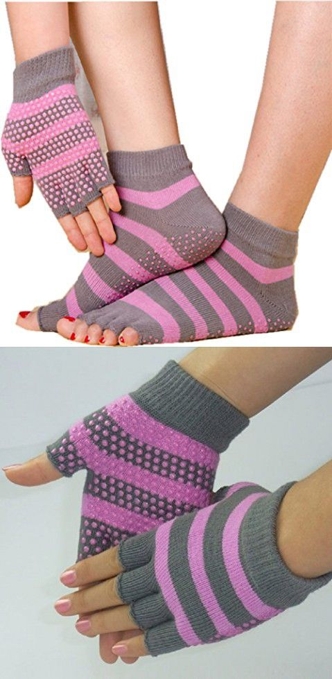 C.X Trendy Yoga Pilates Socks and Gloves Set, Cotton and Non Slip (One size, Gray pink (group 2))