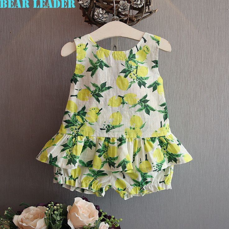 US $10.37 Bear Leader Girls Clothing Sets 2016 Brand Summer Style Kids Clothing Sets Lemon Print Design bow T-shirt+Pants 2Pcs Clothes aliexpress.com