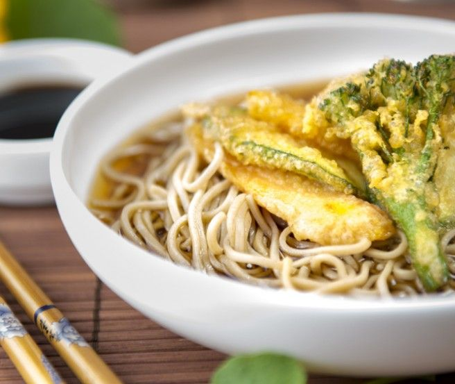Loaded with veggies - a crunchy #Japanese Tempura recipe with mellow, but healthy soba noodles served with a simple dashi broth. This #tempura #soba #recipe makes for a wonderful weeknight #dinner!