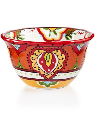 Espana Bocca Red Scalloped Cereal Bowl - Dinnerware - Dining & Entertaining - Macy's