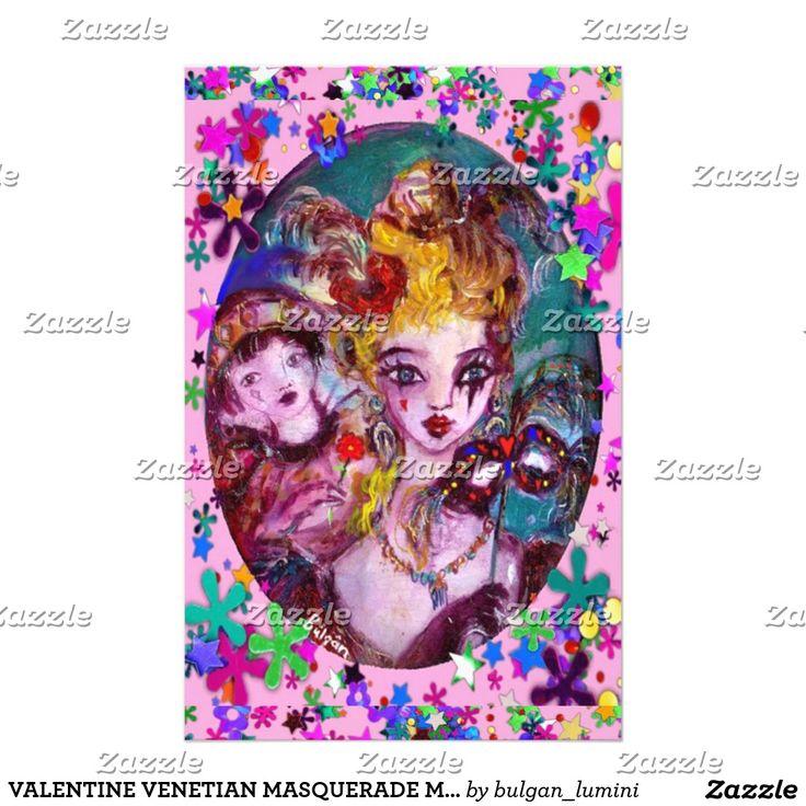 VALENTINE VENETIAN MASQUERADE MASKS by Bulgan Lumini (c) Pink Confetti Stationery #beauty #lovers #carnival #fineart #wedding #mardigras