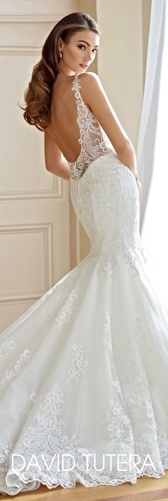 David Tutera for Mon Cheri Fall  2017 Collection - Style No. 217213 Mabel - sleeveless sequin tulle and lace trumpet wedding dress with low scoop back with lace illusion trim