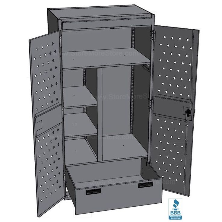 Public safety gear equipment storage Lockers for storing weapons, tactical gear, clothing, vests, helmets, hats, boots, and communications devices, comes with grommets for installing electrical outlets and recharging of communication gear
