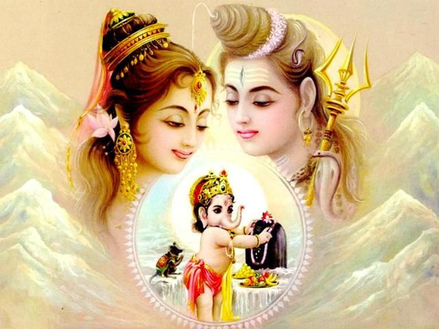 lord ganesha with shiv parvati images