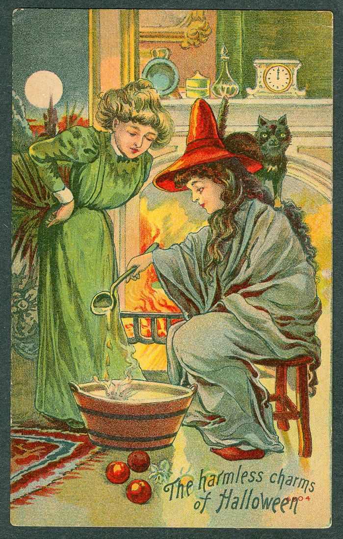 Witchy Charms 1910 Halloween Postcard By An Unknown Publisher This Series Is Numbered A Twelve Card Hard To Find Often Referred As