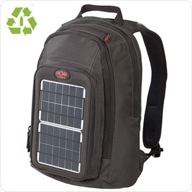 Waterproof solar power backpack made of recycled plastic bottles! Amazing to think that weeks in the woods and you could still have a phone for emergencies. $200
