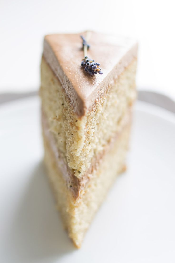 Earl Grey Cake with Chocolate Lavender Frosting | One of my most popular recipes! Earl Grey tea flavored cake with a chocolate & lavender German buttercream. Such a lovely cake for a birthday or bridal shower. Click through for the recipe!